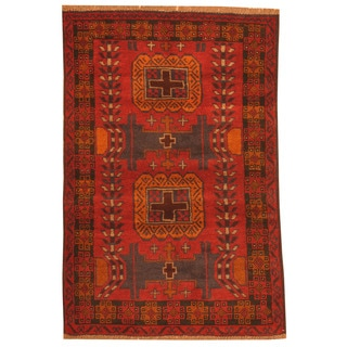 Herat Oriental Afghan Hand-knotted Tribal Balouchi Red/ Navy Wool Rug (2'9 x 4'2)