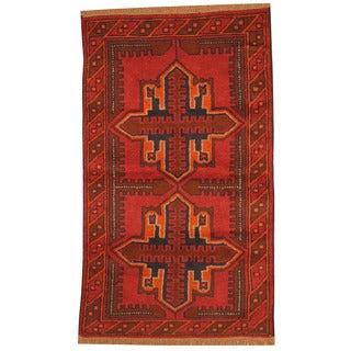 Herat Oriental Afghan Hand-knotted Tribal Balouchi Red/ Orange Wool Rug (2'8 x 4'6)