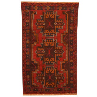 Herat Oriental Afghan Hand-knotted Tribal Balouchi Red/ Navy Wool Rug (2'7 x 4'5)