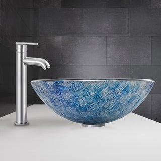 VIGO Oceania Glass Vessel Sink and Seville Faucet Set in Chrome Finish
