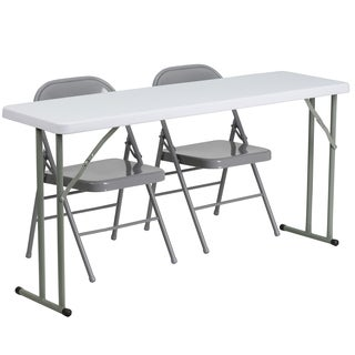 18-inch x 60-inch Plastic Folding Training Table with 2 Grey Metal Folding Chairs