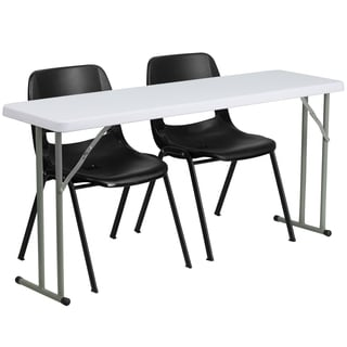18-inch x 60-inch Plastic Folding Training Table with 2 Black Plastic Stack Chairs