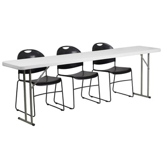 18-inch x 96-inch Plastic Folding Training Table with 3 Black Plastic Stack Chairs