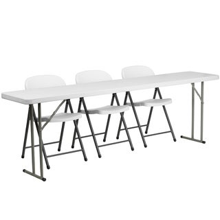 18-inch x 96-inch Plastic Folding Training Table with 3 White Plastic Folding Chairs