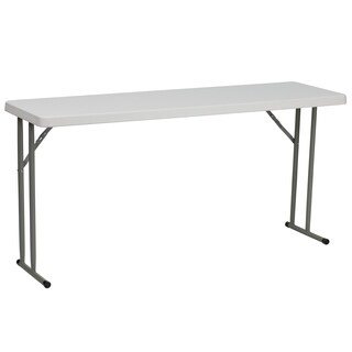 18-inch x 60-inch Granite White Plastic Folding Training Table