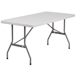 30-inch x 60-inch Granite White Plastic Folding Table