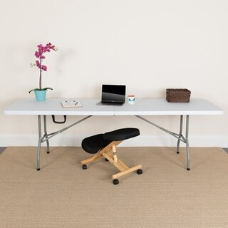 30-inch x 96-inch Bi-fold Granite White Plastic Folding Table