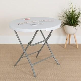 32-inch Round Granite White Plastic Folding Table