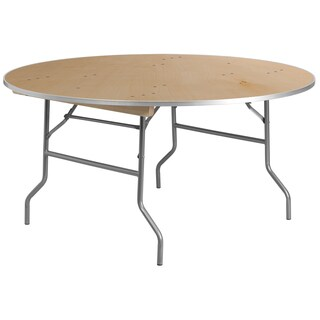 60-inch Round Heavy Duty Birchwood Folding Banquet Table with Metal Edges