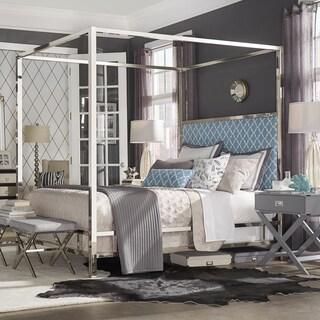 INSPIRE Q Solivita Sky Blue Moroccan Linen Metal Poster Bed