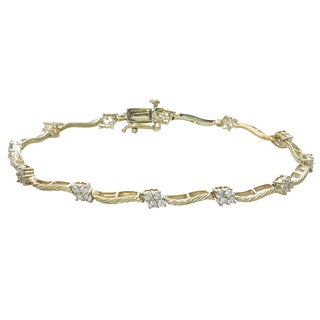 14k Yellow Gold 1 1/5ct TDW Diamond Link Bracelet (I-J, I2-I3)