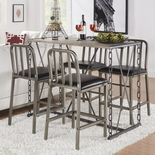 TRIBECCA HOME Blake Counter-height Metal Chain Link Dining Set
