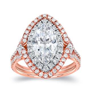Auriya 18k Two-Tone Gold 3 1/8ct TDW Marquise Halo Diamond Engagement Ring (H-I, SI1-SI2)