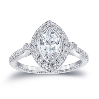 Auriya 18k White Gold 1 1/2ct TDW Marquise Diamond Halo Engagement Ring (H-I, SI1-SI2)