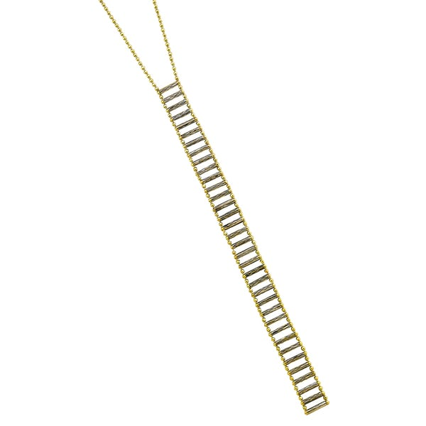 14k Two-tone Diamond-cut Beaded Ladder Bar Adjustable Necklace