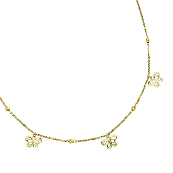 14k Yellow Gold Diamond-cut Dangling Butterfly 18-inch Necklace