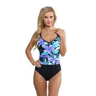 Miraclesuit Women's Periwinkle Purple Floral Bethany Swimsuit