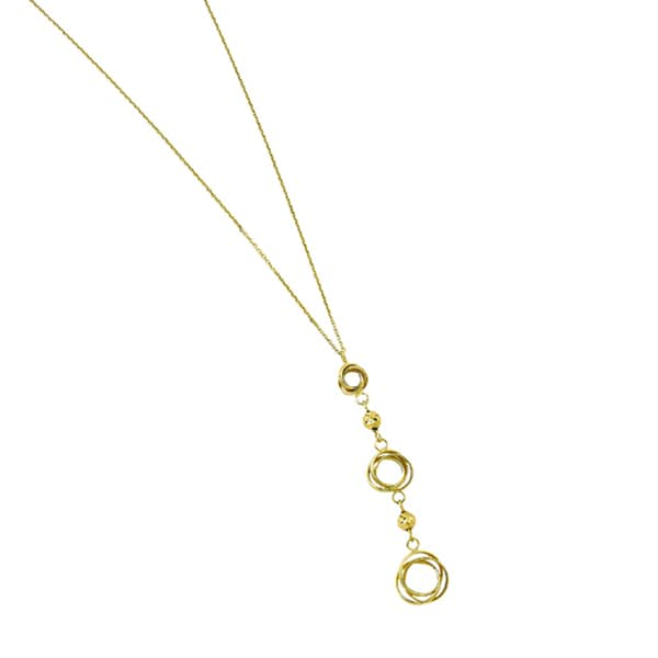 14k Yellow Gold Bead and Triple Open Knot Adjustable Necklace