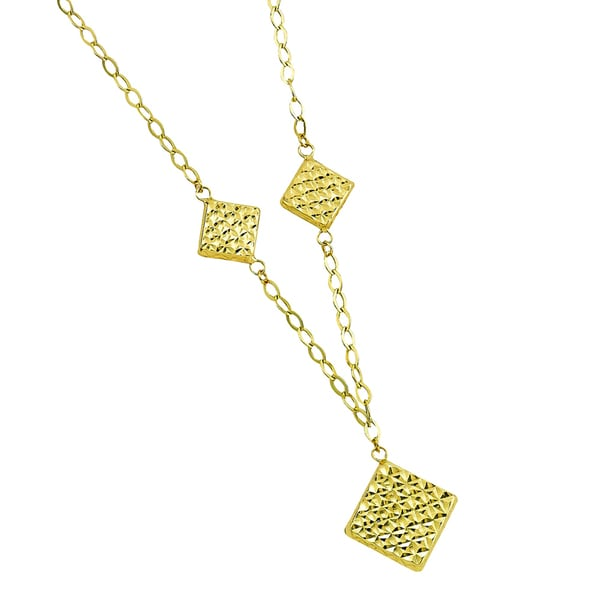 14k Yellow Gold Diamond-cut Triple Marquee Fancy Necklace