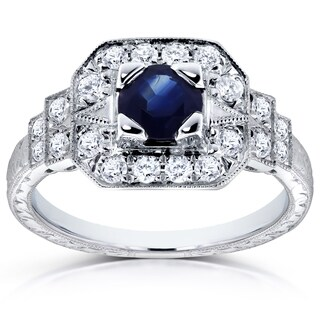 Annello 14k White Gold 5mm Blue Sapphire and 1/3ct TDW Diamond Milgrain Fancy Antique Engagement Ring (H-I, I1-I2)