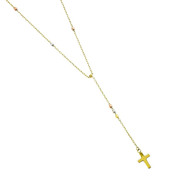 14k Tri-color Gold Wearable Petite Fashion Rosary Necklace