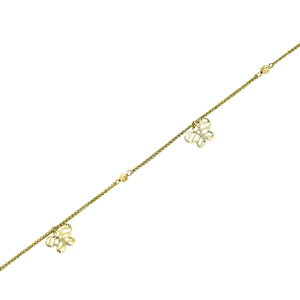 14k Yellow Gold Wheat Bracelet with Dangling Butterflies