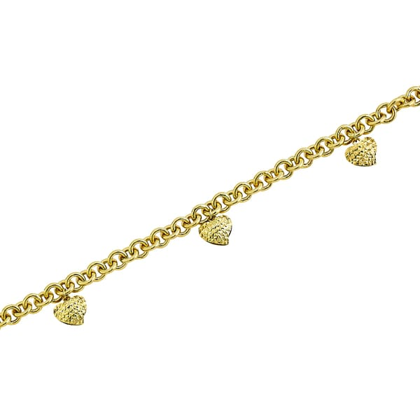 14k Yellow Gold Polished Rolo Bracelet with Diamond-cut Dangling Hearts