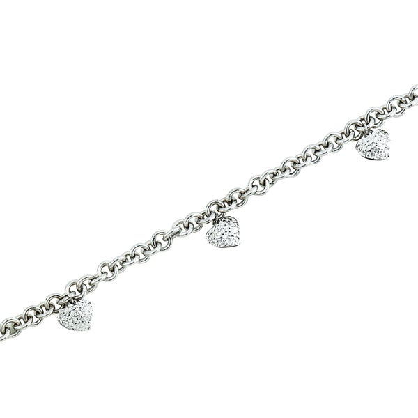 14k White Gold Polished Rolo Bracelet with Diamond-cut Dangling Hearts
