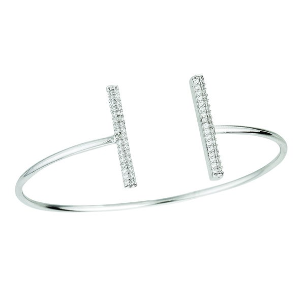 Rhodium-plated Sterling Silver Cubic Zirconia Double Bar Design Bangle Cuff Bracelet