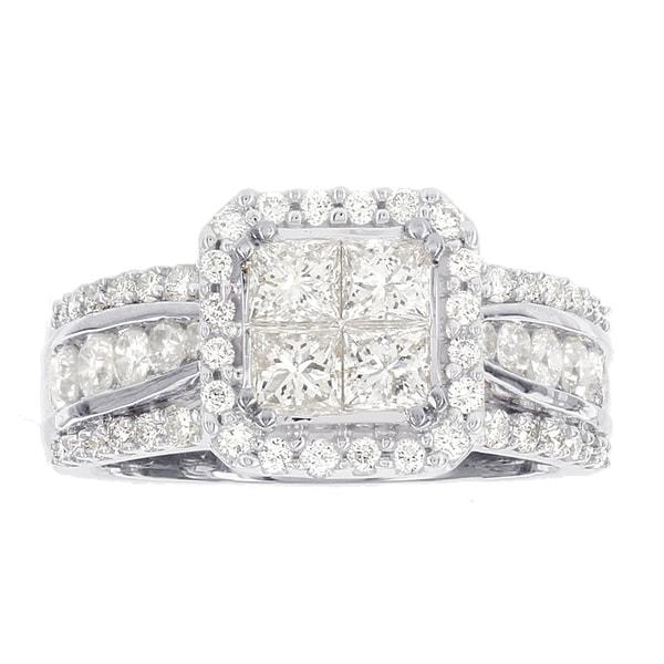 H Star 14k White Gold 2 1/10ct Diamond Princess Cut Quad Top Engagement Ring (H-I, I2-I3)