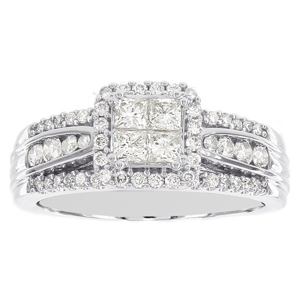 H Star 14k White Gold 1ct Diamond Princess Cut Engagement Ring (I-J, I2-I3)