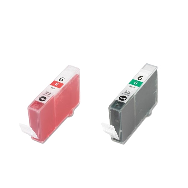 2PK BCI-6R Red BCI-6G Green Compatible Ink Cartridge For Canon i9900 i9950 ( Pack of 2 )