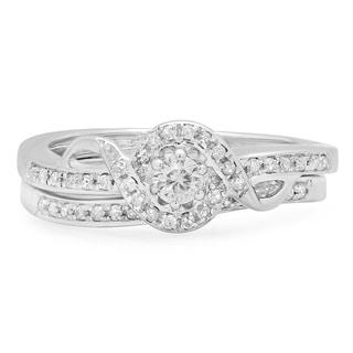 Sterling Silver 1/4ct TDW Round Diamond Bridal Ring Set (J-K, I2-I3)