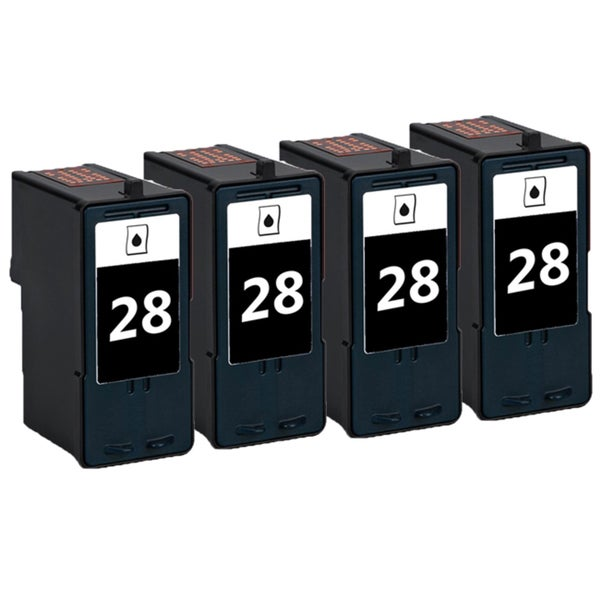 4 Pack 18C1428 (#28) Black Compatible Ink Cartridge For Lexmark X2500/X5075 (Pack of 4)