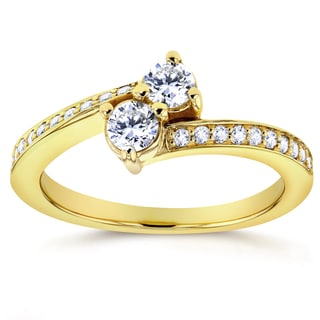 Annello Two Collection 14k Yellow Gold 2/5ct TDW Diamond Two-stone Ring (G-H, I1-I2)