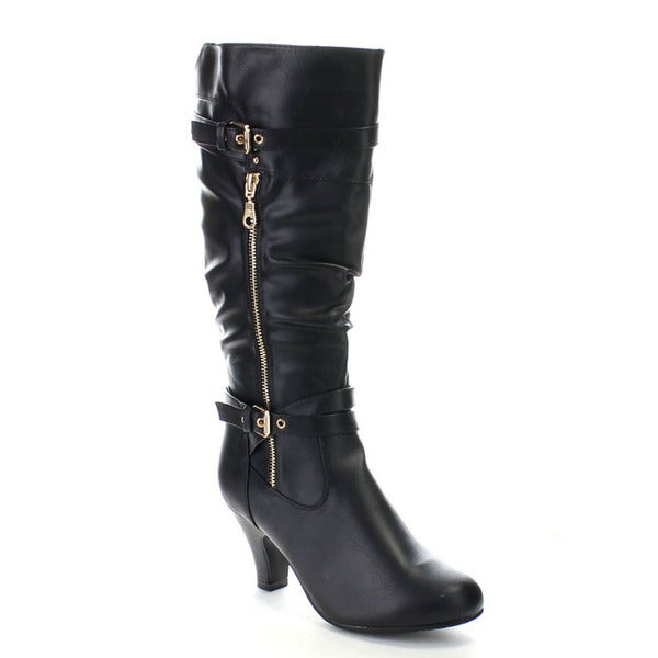 FOREVER BIBI-75 Women's Knee High Cowboy Slouch Buckle Boots