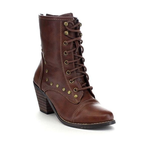 BOLARO BD6568 Women's Stylish Lace Up Studs Mid Calf Boots