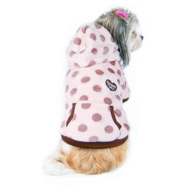 ANIMA Brown and Pink Polka-dot Fleece Pet Coat