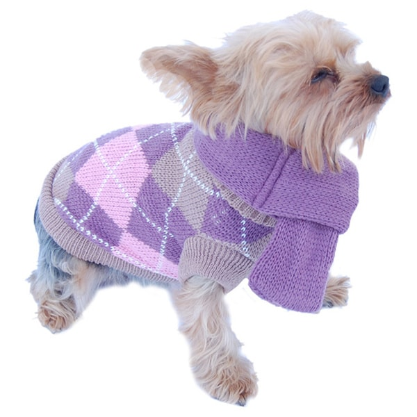 ANIMA Knit Argyle Pet Sweater with Removable Scarf