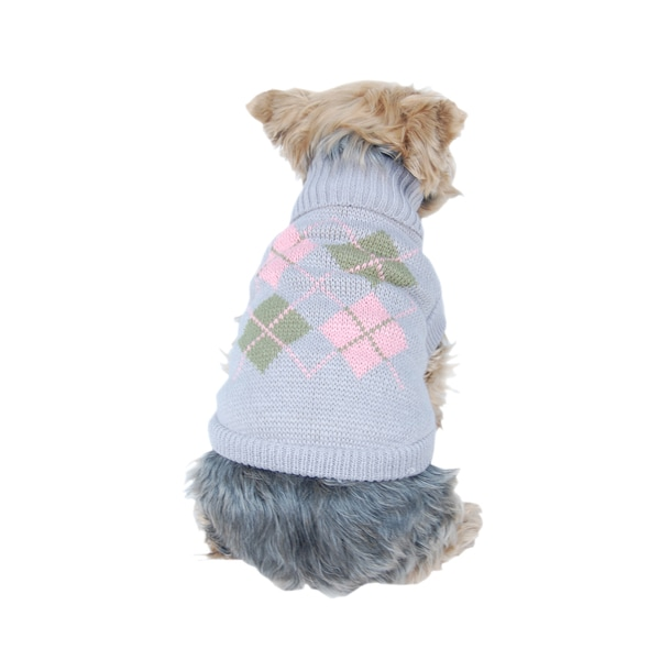 ANIMA Knit Argyle Pet Sweater