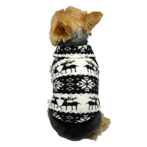 ANIMA Fleece Reindeer and Snowflake Pet Sweater