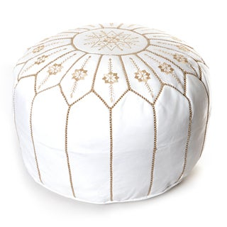 Moroccan Flower Leather Pouf- Round White Embroidered Ottoman (Morocco)