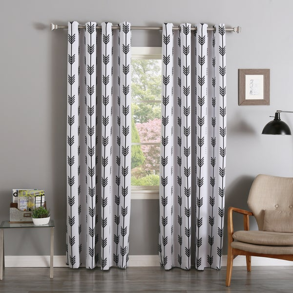 home arrow room darkening blackout grommet 84 inch curtain panel pair