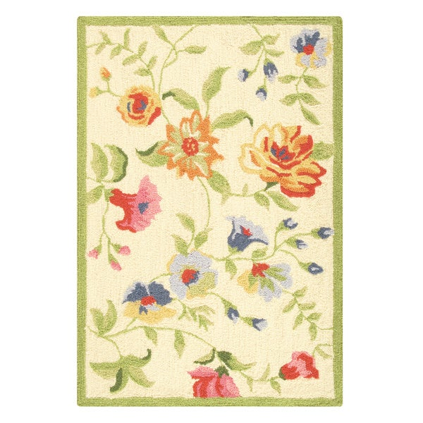 Priscilla Yellow Wool Hooked Rug