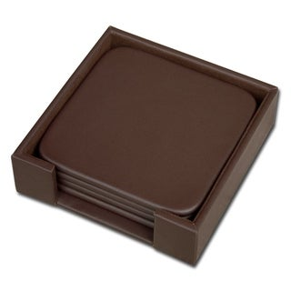 Chocolate Brown Leatherette Square Coaster Set with Holder