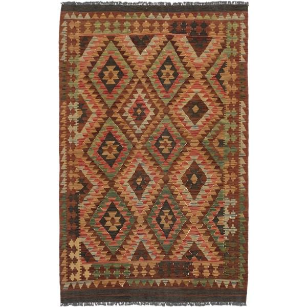 Ecarpetgallery Istanbul Yama Kilim Brown Wool Kilim Area Rug (4' x 6')
