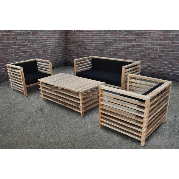 SOLIS Silva Outdoor 4-piece Solid Wood Patio Sofa Set