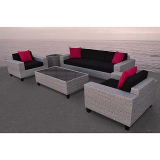 SOLIS Vizela Outdoor Deep Seated 5-piece Cement Grey Wicker Rattan Patio Sofa Set - Black/Red Cushions