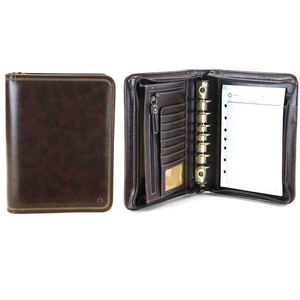 Brown Franklin Covey Vinyl Classic Size Zip Around 7-Ring Binder