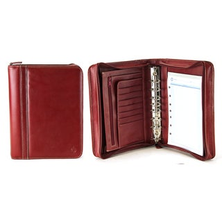 Red Franklin Covey Leather Classic Size Zip Around 7-Ring Binder